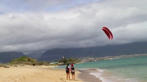 Aqua Sports Maui Kiteboarding Instructor with Student and Trainer Kite