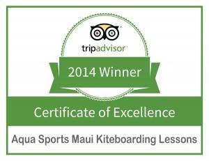 Aqua Sports Maui Kiteboarding Lessons Trip Advisor Certificate of Excellence Award 2014