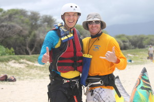 maui kite boarding school instructor with student