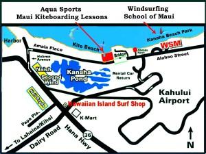 Map to Kite Beach Maui and Aqua Sports Maui Kiteboarding Lessons