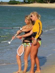 Aqua Sports Maui Instructor teaching kiteboarding
