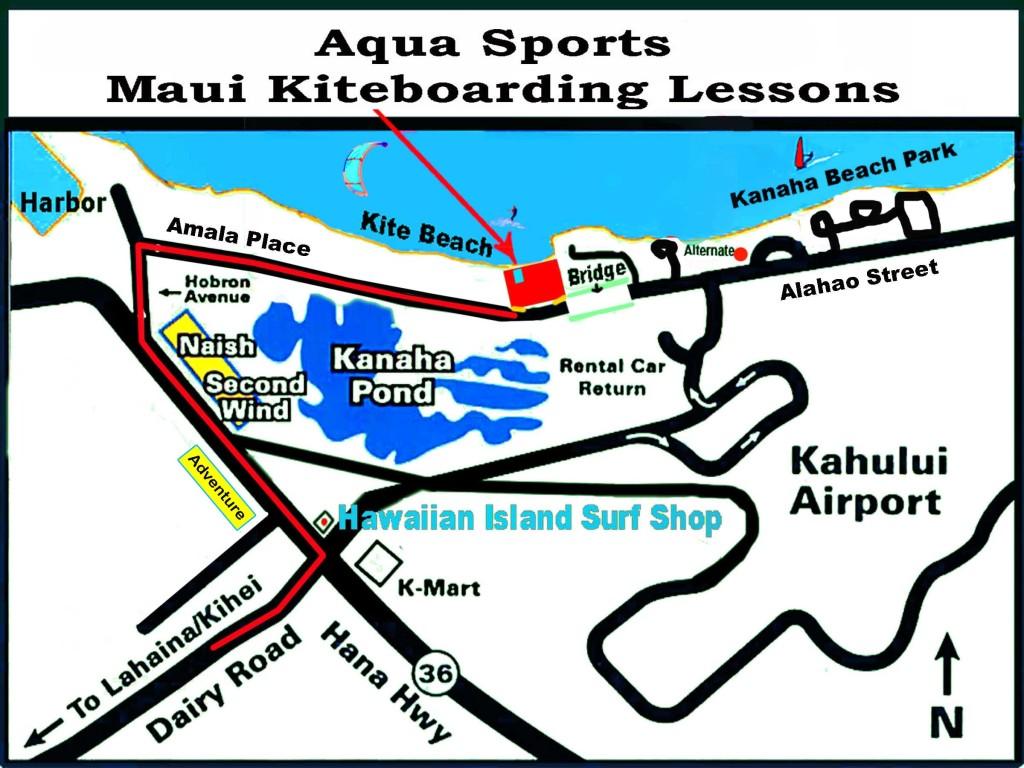 Map to Kite Beach Maui and Aqua Sports Maui 1